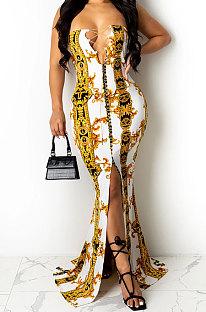 Light Yellow Fashion Sleeveless Chain Chest Binding Bodycon Open Fork Long Dress XZ5166-4