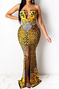 Dark Yellow Fashion Sleeveless Chain Chest Binding Bodycon Open Fork Long Dress XZ5166-3