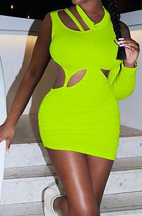 Neon Green Fashion Asymmetric Sleeveless Sexy Dress SZS8066-3