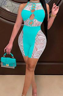 Lake Blue Euramerican Spliced Sleeveless Fashion Casual Shift Jumpsuits SZS8077-2