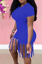 Blue Summer Casual Pure Color Tassel Jumpsuits KSN8089-5