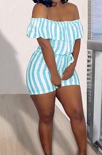 Sky Blue Sexy Stripe Lotus Leaf A Word Shoulder Jumpsuits KSN05013-2