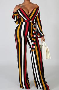 Stripe Fashion Sexy Digital Printing V Neck Wide Leg Jumpsuits SMR10324-2