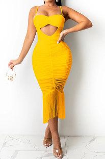 Yellow Pure Color Fashion Women Sexy Condole Belt Chest Wrap Hollow Out Tassel Midi Dress XZ5225-3