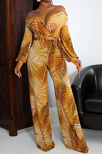 Yellow Fashion Sexy Digital Printing V Neck Wide Leg Jumpsuits SMR10324-1