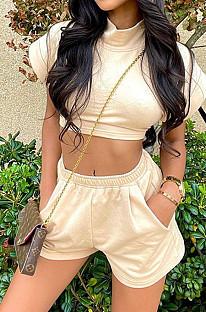 Khaki Full  Sleeve Round Neck Dew Waist Pure Color Fashion Two Piece SZS8072-5