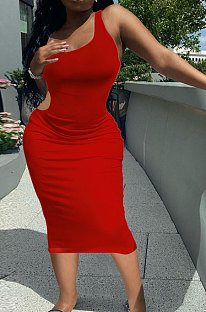 Red Pure Color One Shoulder Back Hollow Out Screw Thread Midi Dress XQ1133-1