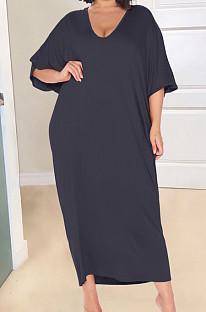 Black Fashion Pure Color Deep V Neck Loose Casual Long Dress YX9289-3
