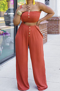Women Chest Wrap Suspender Trousers Pure Color Pants Sets MQX23580