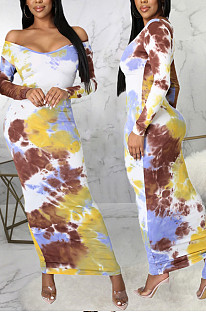 Yellow Fashion Digital Print Long Dress SMR10302-1