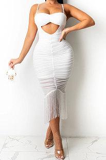White Pure Color Fashion Women Sexy Condole Belt Chest Wrap Hollow Out Tassel Midi Dress XZ5225-4
