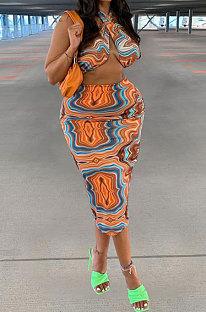 Lines Orange Women Sexy Halter Neck Printing Backless Plus Skirt Sets PY0831-1