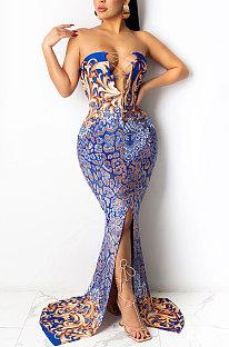 Blue Fashion Sleeveless Chain Chest Binding Bodycon Open Fork Long Dress XZ5166-2