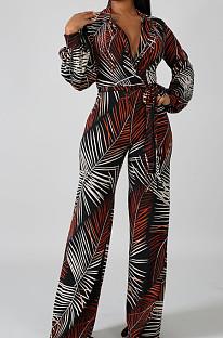 Black Leaf  Fashion Sexy Digital Printing V Neck Wide Leg Jumpsuits SMR10324-3