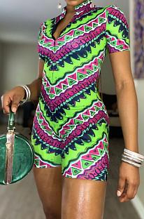 Green Summer Fashion Positioning Printing Slim Fitting Zipper Romper Shorts OEP6297-2