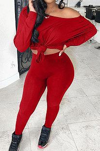Red Women Pure Color Off Shoulder Long Sleeve Pants Sets SMY8105-2