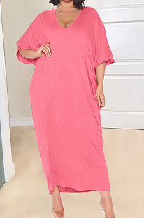 Rose Red Fashion Pure Color Deep V Neck Loose Casual Long Dress YX9289-5