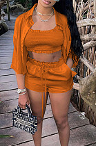 Orange High Elastic Satin Wave Edge Spininess Rubber String Pull A Wrinkled Shirt Shorts Three Piece SZS8036-5