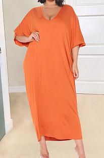 Orange Fashion Pure Color Deep V Neck Loose Casual Long Dress YX9289-1