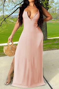 Pink Sexy Zipper Low Cut Open Fork Long Dress KSN06002-3