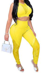 Women Pure Color Lace Spliced Sexy Top Pants Sets YF8531