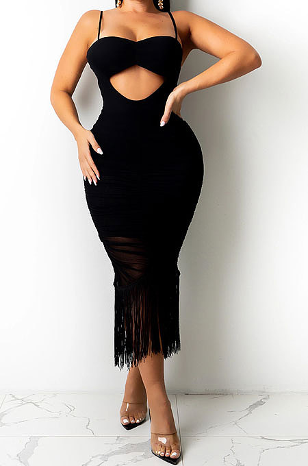 Black Pure Color Fashion Women Sexy Condole Belt Chest Wrap Hollow Out Tassel Midi Dress XZ5225-1