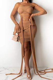 Khaki Sexy Bandeau Bra Bind Flare Sleeve Net Yarn Fashion Two Piece SZS8067-3