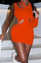 Orange Fashion Asymmetric Sleeveless Sexy Dress SZS8066-6