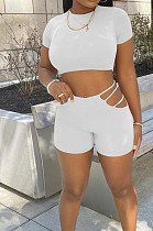 White Casual Dew Waist Round Neck Slim Fitting T Shirts Shorts Two Piece SM9193-3