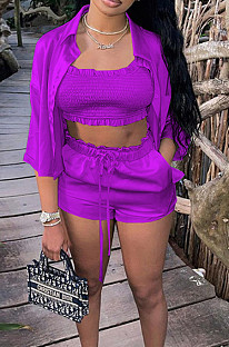 Purple Elastic Satin Wave Edge Spininess Rubber String Pull A Wrinkled Shirt Shorts Three Piece SZS8036-7