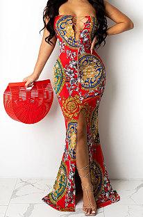 Red Fashion Sleeveless Chain Chest Binding Bodycon Open Fork Long Dress XZ5166-1