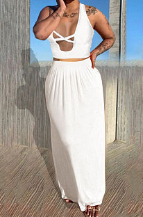 White Euramerican Women Pure Color Loose Sexy Top Skirts Sets JR3637-4
