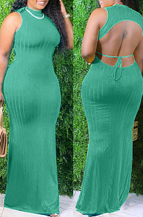 Green Summer Sexy Pure Color Pit Bar Backless Long Dress KSN8090-1