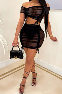 Black Women Net Yarn Package Hip Skirt A Word Shoulder Top Two-Pieces MA6711