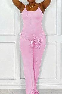 Pink Night Club Sexy Pure Color Loose Sling Jumpsuits QSS51025-3