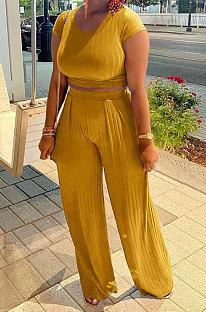 Yellow Women Pit Bar Pure Color Casual Pants Sets JR3635-4