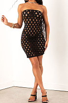 Black Women Sexy Hollow Out Boob Tube Top Mini Dress JR3634-2