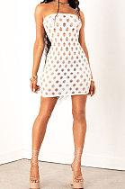 White Women Sexy Hollow Out Boob Tube Top Mini Dress JR3634-3