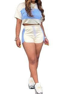Light Blue Fashion Spliced Casual Hoodies Shorts Sets ML7220-3
