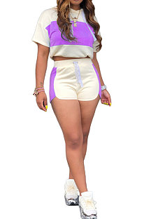 Purple Fashion Spliced Casual Hoodies Shorts Sets ML7220-1