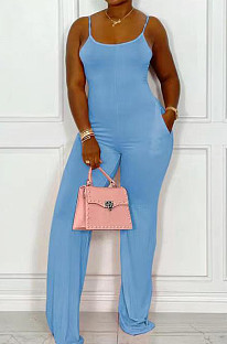 Light Blue Night Club Sexy Pure Color Loose Sling Jumpsuits QSS51025-4