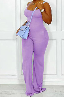 Purple Night Club Sexy Pure Color Loose Sling Jumpsuits QSS51025-6