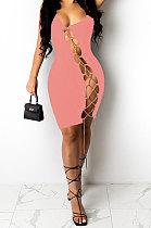 Pink Women Sexy Condole Belt Chain Cross Mini Dress MA6704-1