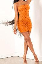 Orange Women Sexy Hollow Out Boob Tube Top Mini Dress JR3634-4