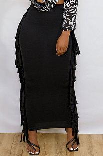 Euramerican Women Tassel Pure Color Skirts JR36391
