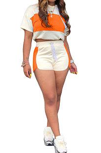 Orange Fashion Spliced Casual Hoodies Shorts Sets ML7220-4