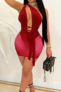 Wine Red Euramerican Sexy Net Yarn Perspctive Slim Fitting Dress A8609-4