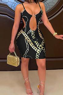 Black Fashion Sexy Hollow Out Printing Sling Dress YZL851-2