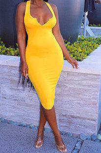 Yellow Women Trendy Pure Color Sexy Mini Dress MA6710-3