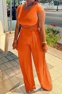 Orange Women Pit Bar Pure Color Casual Pants Sets JR3635-3